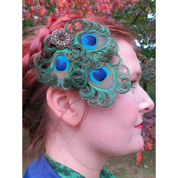 Boho Bride Peacock Headpiece