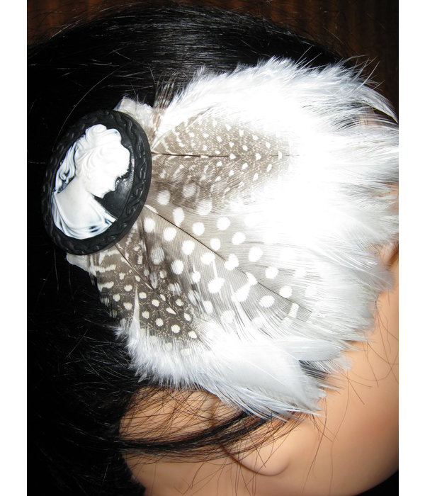 Feather Fascinator Snow White Polkadot