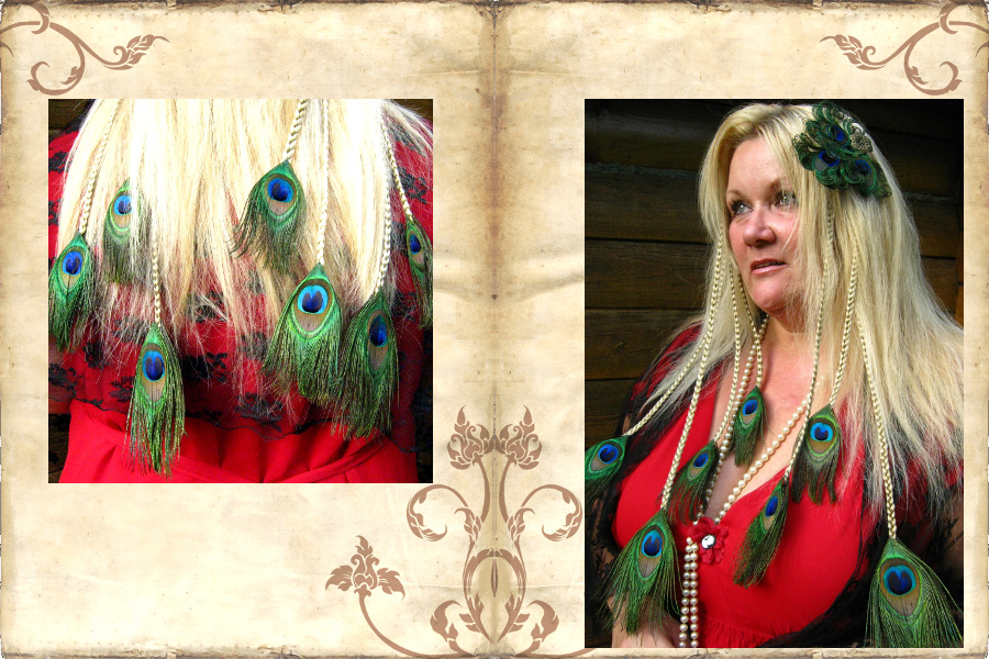 Peacock hair extensions for peacock divas!