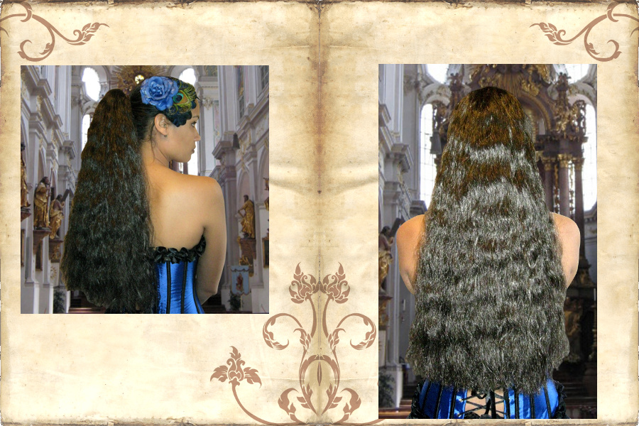 Size L hair falls with natural wavy hair, all hair colors!