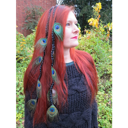 Peacock Hairpiece, 7, 9 or 11 Feathers