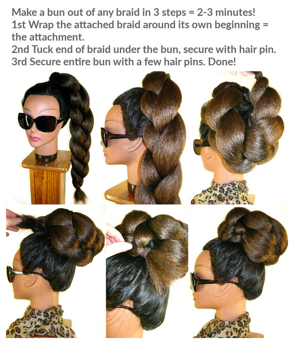 Topknot Bun & Braid S, crimped hair