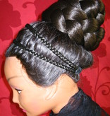 Rose Bun Chignon & L Twist Braid, crimped hair