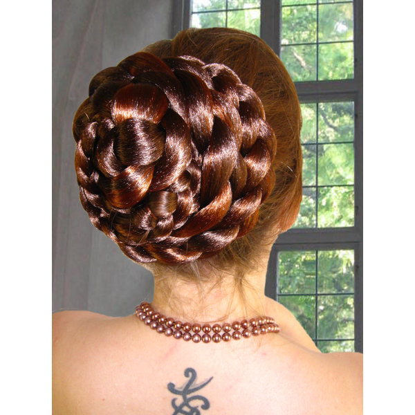 Braided Hair Bun S extra, crimped hair
