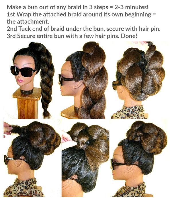 Braided Hair Bun & Braid S extra, crimped hair