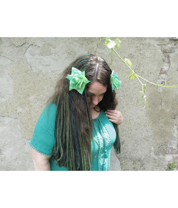 Rose hair flower turquoise green