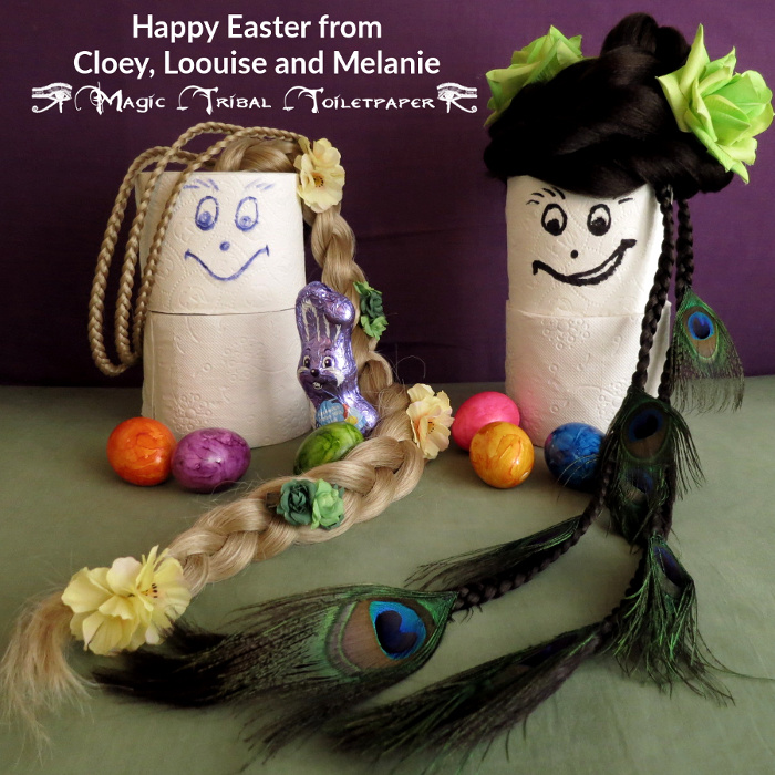 Easter greetings with Cloey & Loouise toilet paper models