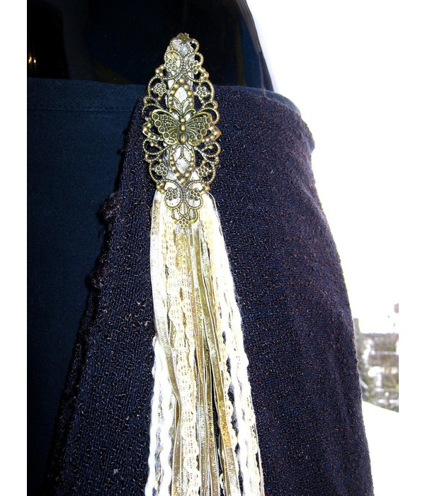 Antique (Peacock) hip & hair tassel clip