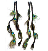 2x Peacock Extensions, 9 Feathers  - color 1 black