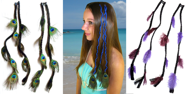 Ready to ship peacock feather hair pieces and feather extensions with up to 70 % discount