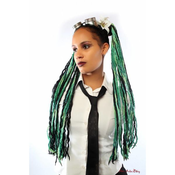 Green Black Goth Dreads