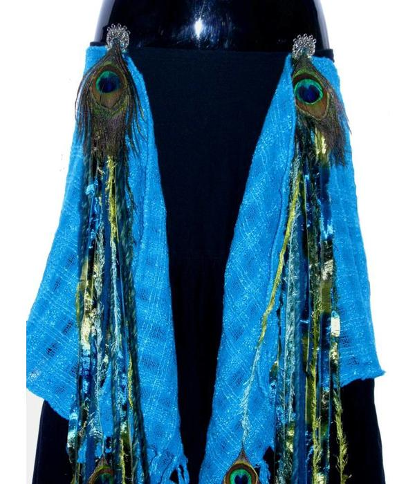 Mermaid Peacock hip & hair tassel clip/ yarn fall