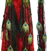 Belly Dance Belt & Hair Red Passion Peacock