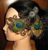 Peacock Hair Clip Silver Blossom