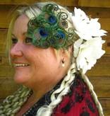 Boho Bride Peacock Feather Headpiece - antique brass flower