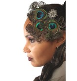 Curly Peacock Feather Goth Headpiece