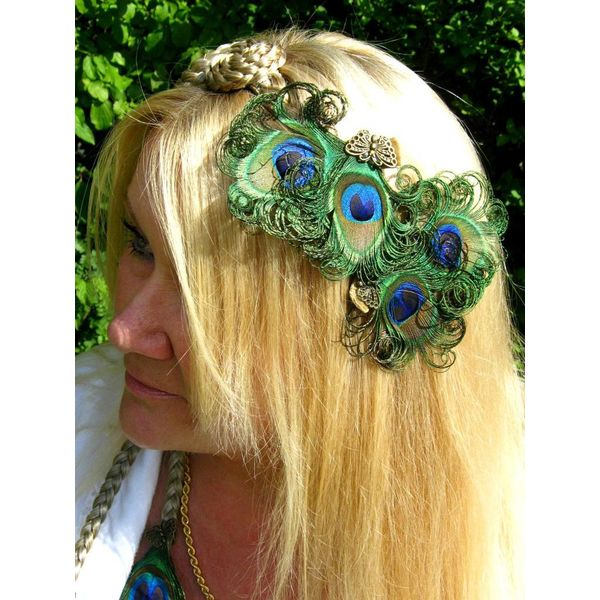 Bronze Peacock Butterfly Hair Clip