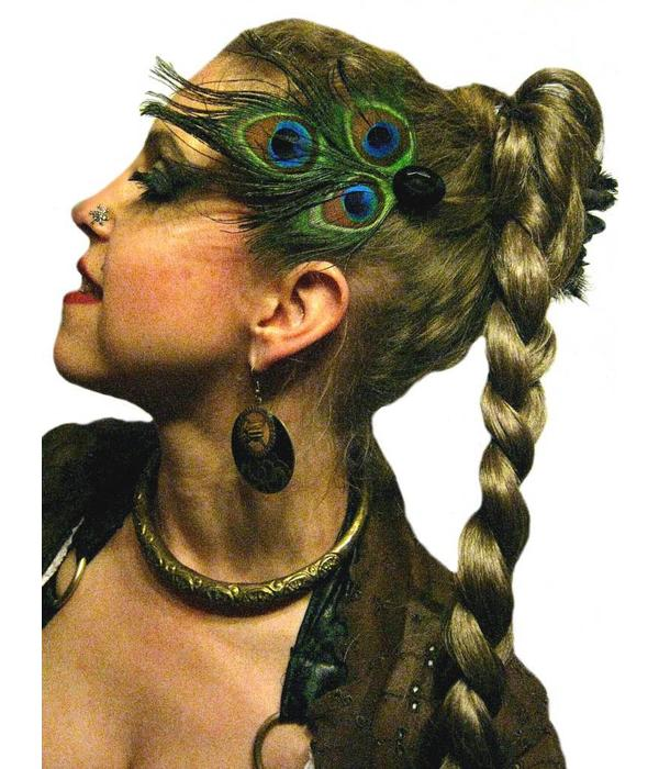 Peacock Tribal Goth Headpiece - black