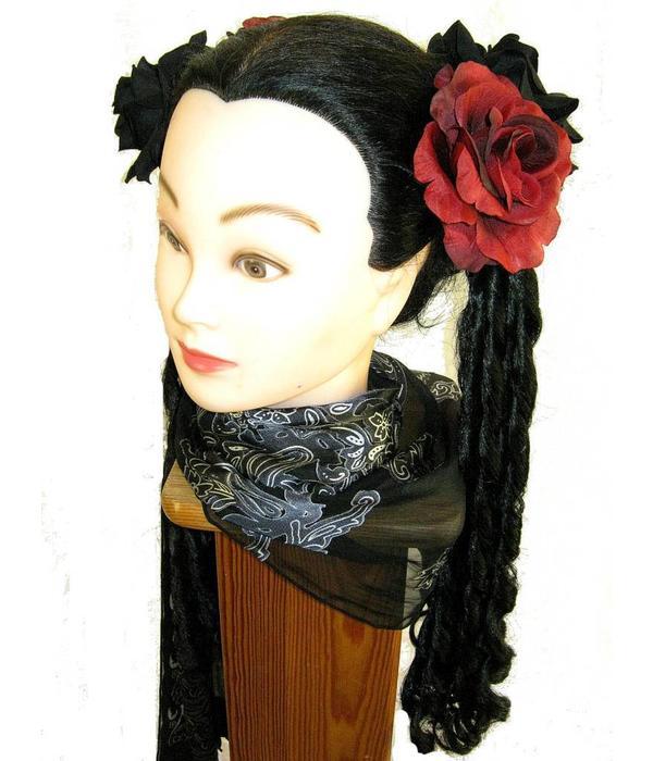 Black & Wine Red Rose Hair Flowers