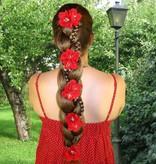 Red Bollywood Hair Flowers