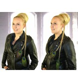 Goth Peacock Feather Hair Extension M Set