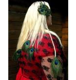 Quadruple Peacock Feather Hair Piece