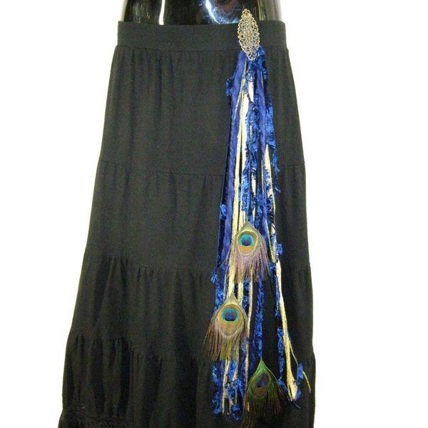 Gold & Blue Peacock yarn fall