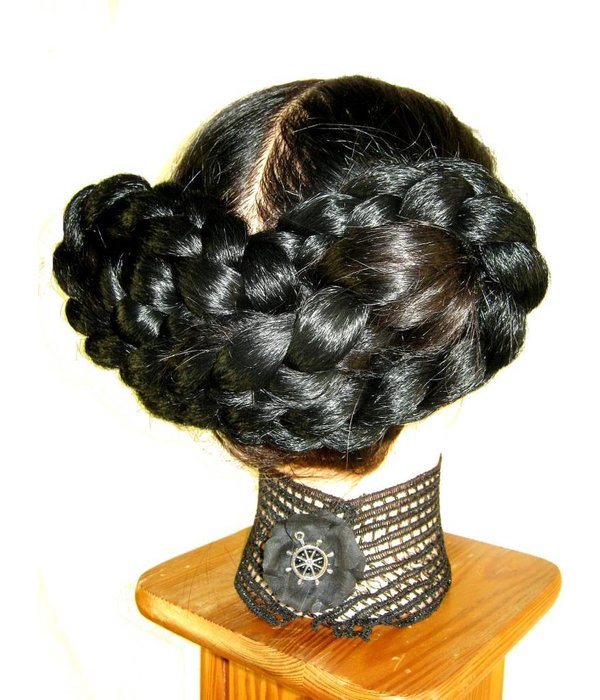 Braided Nostalgic Updo, crimped hair