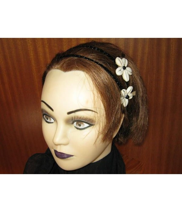 Cowry Hair Flowers, black beads