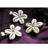 Cowry Hair Flowers, silver beads