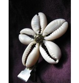 Cowry Hair Flowers, antique brass beads