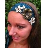 Cowry Hair Flowers, tiger eye beads