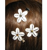 Cowry Hair Flowers, tiger eye beads