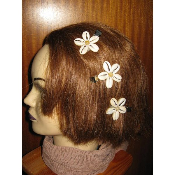 Cowry Hair Flowers, jade