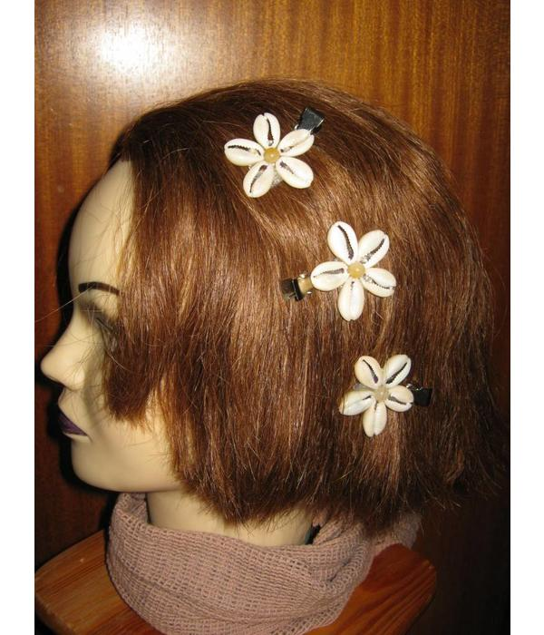 Cowry Hair Flowers, jade beads