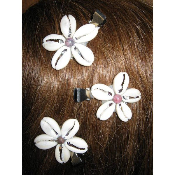 Cowry Hair Flowers, rhodonite