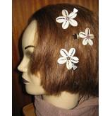 Cowry Hair Flowers, rhodonite beads
