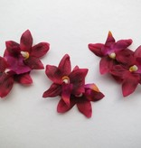 Wine Red Mini Orchid Hair Flowers