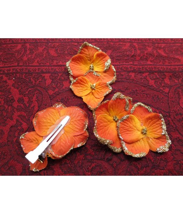 Bollywood Hair Flowers, Orange Gold