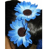 Blue Daisy Hair Flowers 2 x