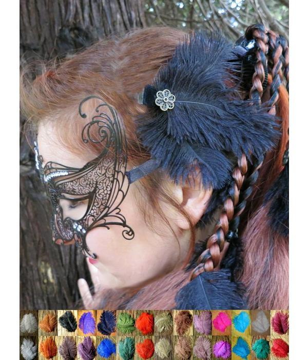 Ostrich Feather Hair Clip Flora