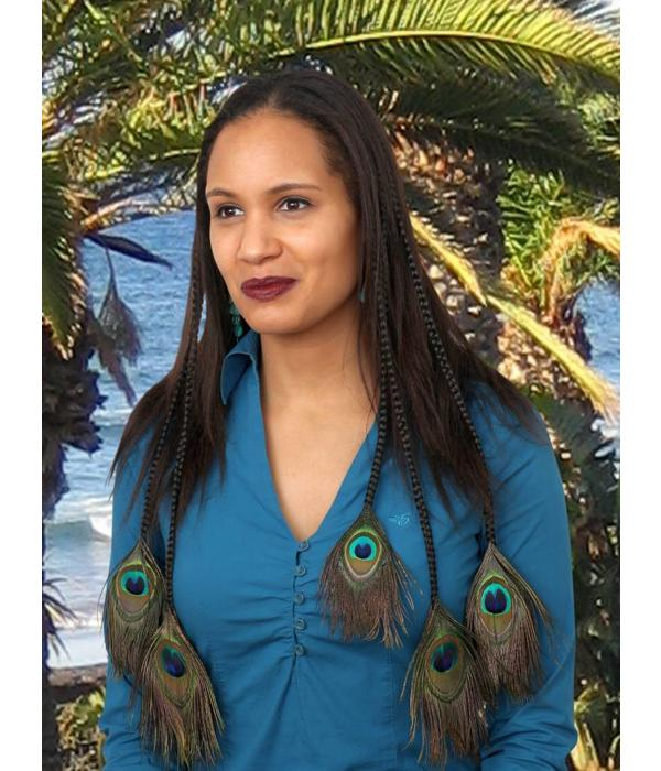 Peacock Feather Hair Pieces M Set - Color 3