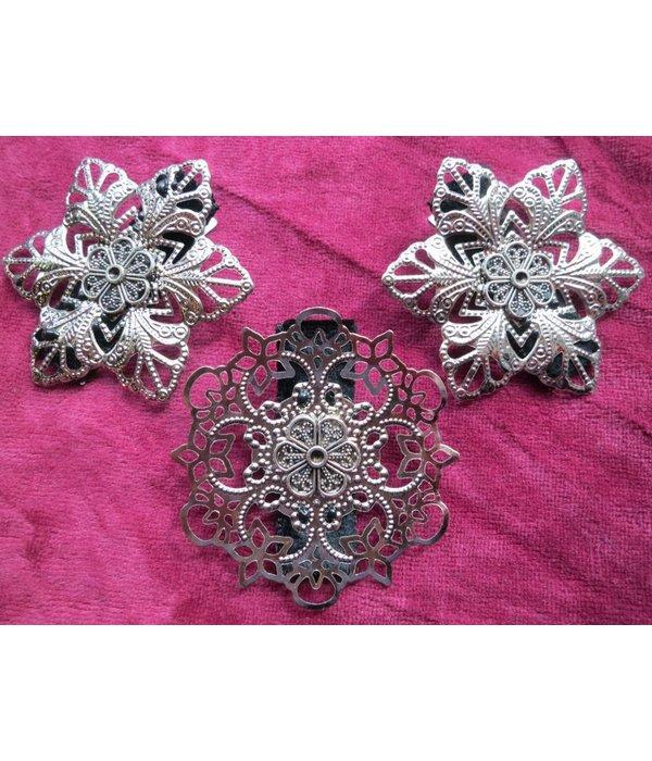 Boho Hair Flower Set, silver