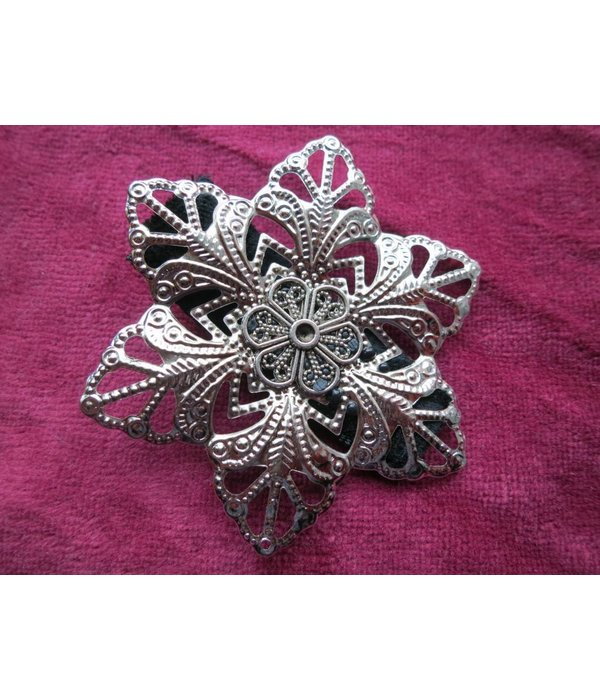 Tribal Fusion Hair Flower Set, silver