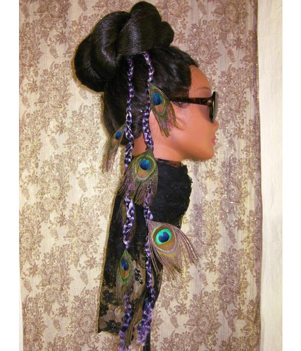 Purple-Black Peacock Feather Extensions, 7 Feathers