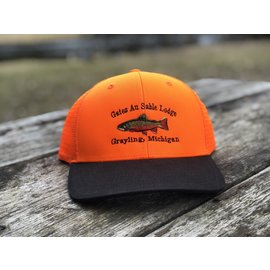 Orvis Orvis Gates Logo Blaze Orange Waxed Brim Trucker Hat