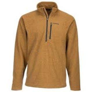 Simms Fishing M's Rivershed Sweater Quarter Zip, Dark Bronze