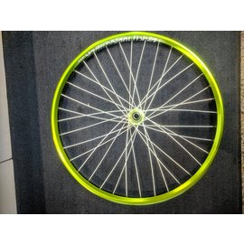 "Dartmoor Raider 26"" Green, White Spokes Laced to Green B-15 brakeless hub. 36H"
