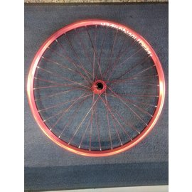 "Dartmoor Raider 26"" Red, Red Spokes Laced to Red B-15 brakeless hub. 36H"