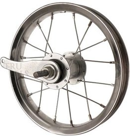 Sta-Tru Sta Tru Rear Wheel~ 12 inch Silver Coaster Brake with Steel Rim Solid Thread on Axle and 20 Spokes Includes Axle Nuts